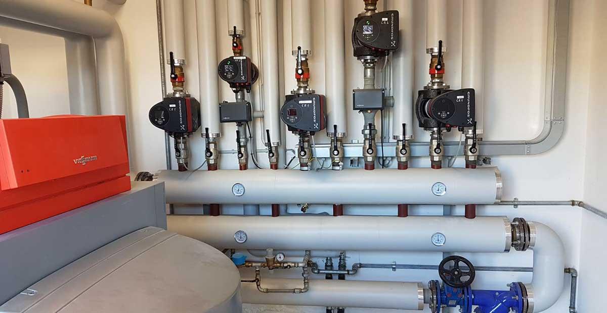 Impianto di riscaldamento centralizzato con caldaia viessmann